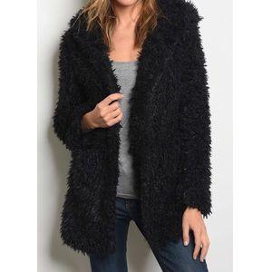 <<RATED 5-STAR>> Black Shaggy Fur Coat